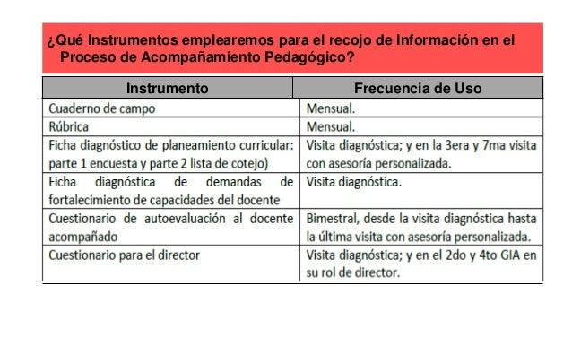 ¿Qué Instrumentos emplearemos para el recojo de Información en el Proceso de Acompañamiento Pedagógico? Instrumento Frecue...