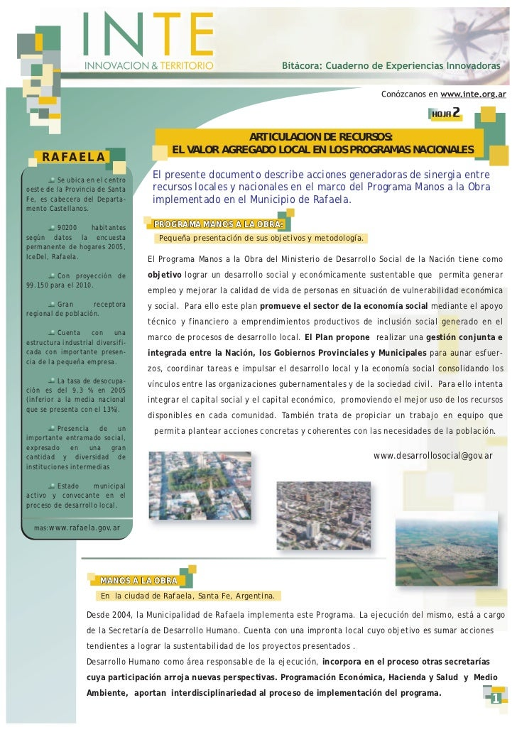 HOJA   2                                                      ARTICULACION DE RECURSOS:                                   ...