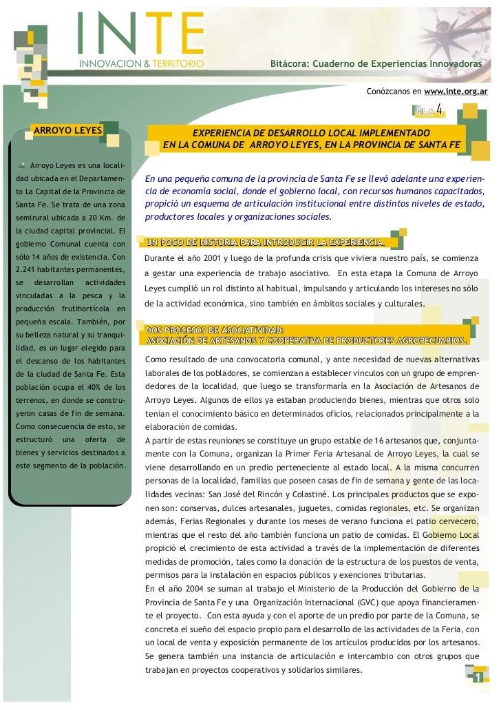 HOJA   4     ARROYO LEYES                             EXPERIENCIA DE DESARROLLO LOCAL IMPLEMENTADO                        ...
