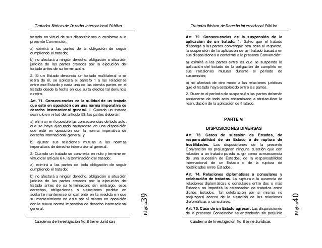 tratado en virtud de sus disposiciones o conforme a la      Art. 72. Consecuencias de la suspensión de lapresente Convenci...