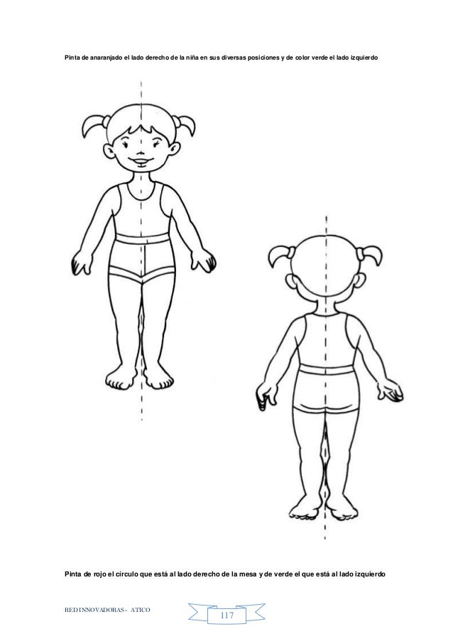 RED INNOVADORAS - ATICO 117 Pinta de anaranjado el lado derecho de la niña en sus diversas posiciones y de color verde el ...
