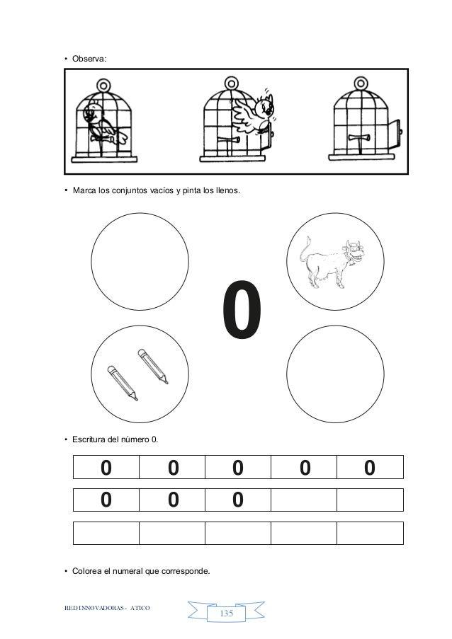 RED INNOVADORAS - ATICO 135 • Observa: • Marca los conjuntos vacíos y pinta los llenos. • Escritura del número 0. • Colore...
