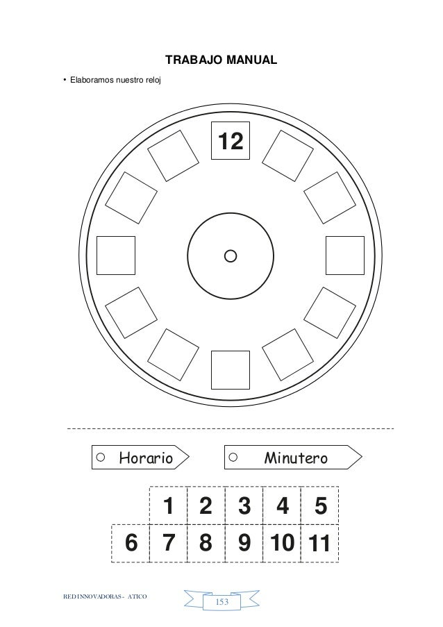 RED INNOVADORAS - ATICO 153 TRABAJO MANUAL • Elaboramos nuestro reloj Horario Minutero 12 1 2 3 4 5 7 8 9 10 116