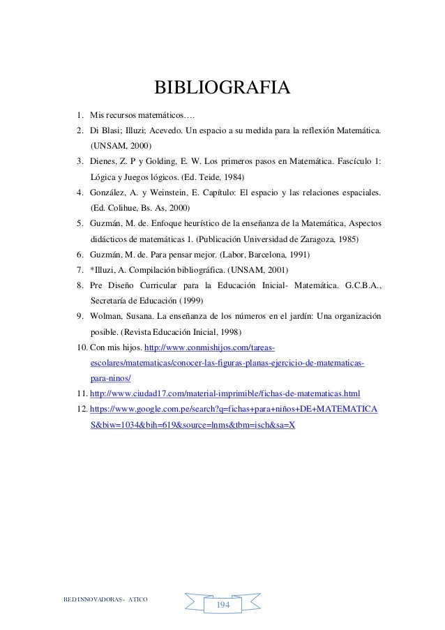 RED INNOVADORAS - ATICO 194 BIBLIOGRAFIA 1. Mis recursos matemáticos…. 2. Di Blasi; Illuzi; Acevedo. Un espacio a su medid...