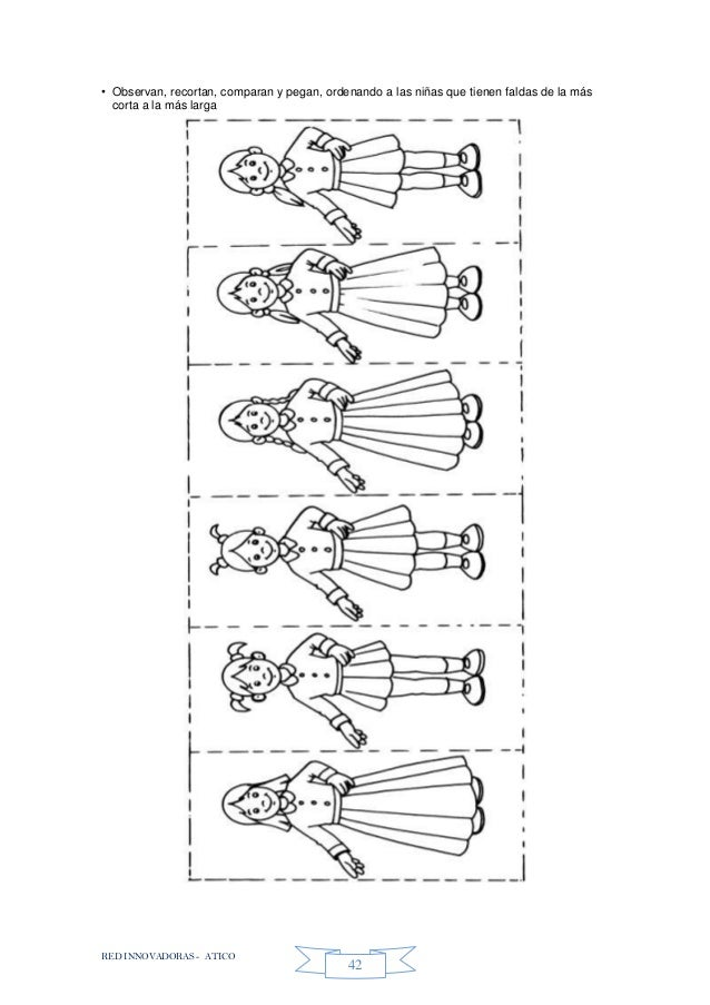 RED INNOVADORAS - ATICO 42 • Observan, recortan, comparan y pegan, ordenando a las niñas que tienen faldas de la más corta...