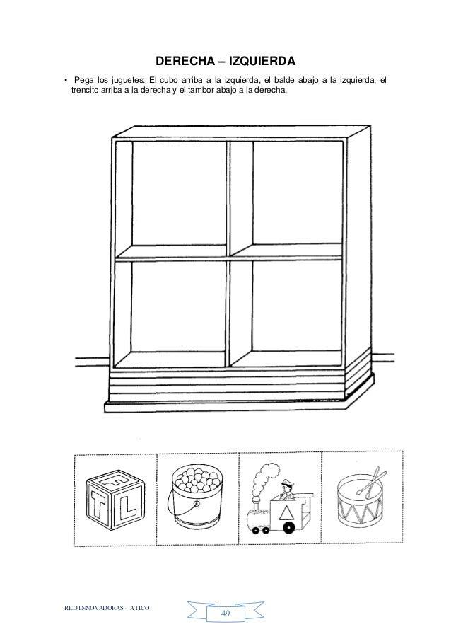 RED INNOVADORAS - ATICO 49 DERECHA – IZQUIERDA • Pega los juguetes: El cubo arriba a la izquierda, el balde abajo a la izq...