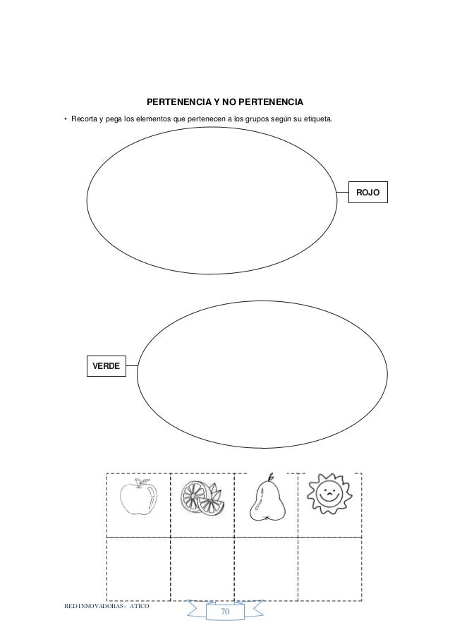 RED INNOVADORAS - ATICO 70 PERTENENCIA Y NO PERTENENCIA • Recorta y pega los elementos que pertenecen a los grupos según s...