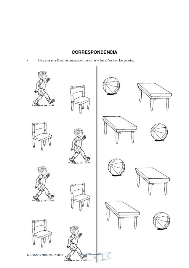 RED INNOVADORAS - ATICO 72 CORRESPONDENCIA • Une con una línea las mesas con las sillas y los niños con las pelotas.