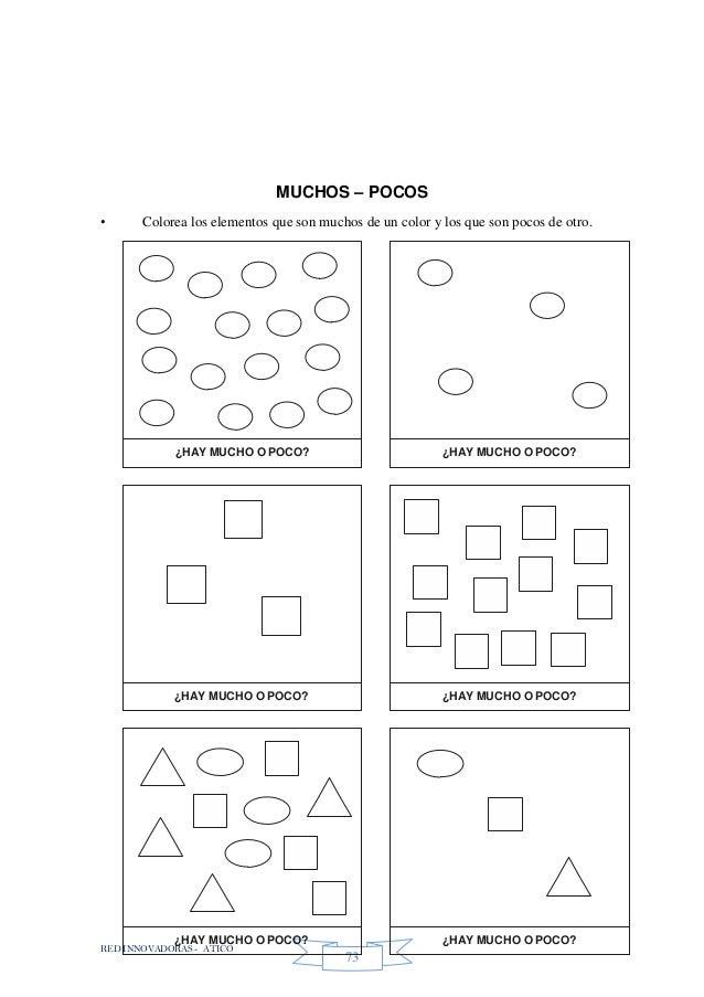 RED INNOVADORAS - ATICO 73 MUCHOS – POCOS • Colorea los elementos que son muchos de un color y los que son pocos de otro. ...
