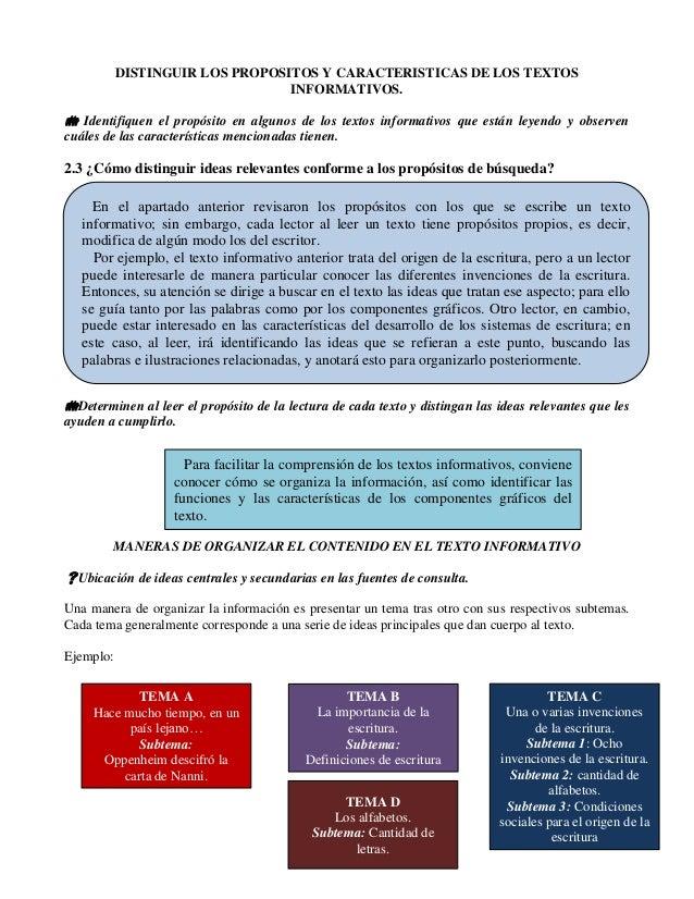 DISTINGUIR LOS PROPOSITOS Y CARACTERISTICAS DE LOS TEXTOS INFORMATIVOS.  Identifiquen el propósito en algunos de los text...