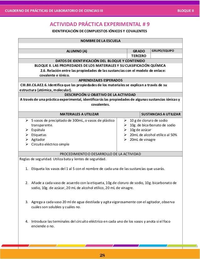 Cuaderno de prácticas de laboratorio de ciencias iii