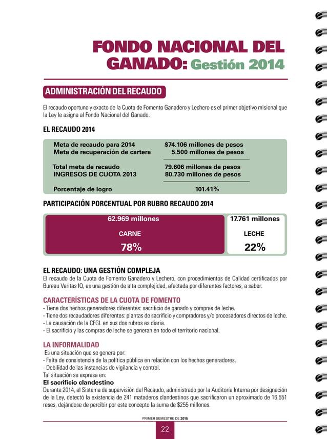 23 CUADERNOS GANADEROS 12 Fondo Nacional del Ganado Gestión y resultados 2014 Procesamiento y distribución de leche cruda ...