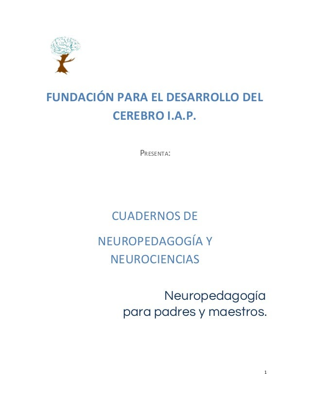 FUNDACIÓN PARA EL DESARROLLO DEL CEREBRO I.A.P. PRESENTA:  CUADERNOS DE NEUROPEDAGOGÍA Y NEUROCIENCIAS Neuropedagogía para...