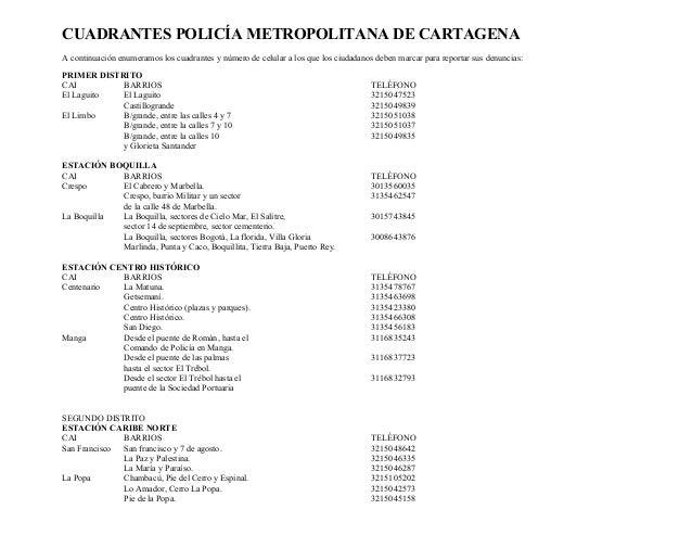 CUADRANTES POLICÍA METROPOLITANA DE CARTAGENA A continuación enumeramos los cuadrantes y número de celular a los que los c...