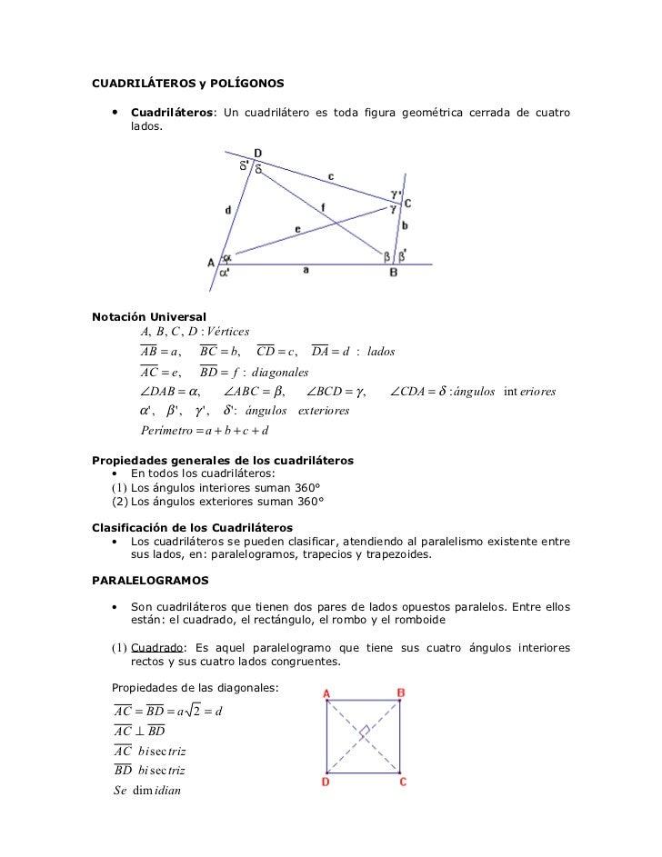 CUADRILÁTEROS y POLÍGONOS   •   Cuadriláteros: Un cuadrilátero es toda figura geométrica cerrada de cuatro       lados.Not...