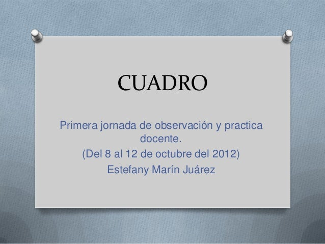 CUADROPrimera jornada de observación y practica                 docente.    (Del 8 al 12 de octubre del 2012)          Est...