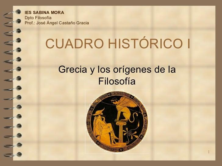 CUADRO HISTÓRICO I Grecia y los orígenes de la Filosofía IES SABINA MORA Dpto Filosofía Prof.: José Ángel Castaño Gracia