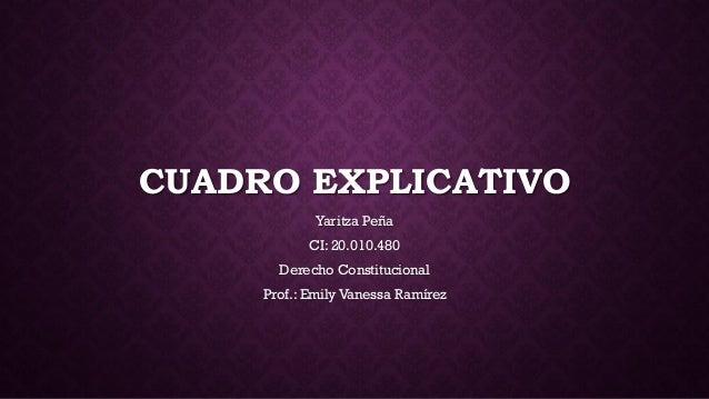 CUADRO EXPLICATIVO Yaritza Peña CI: 20.010.480 Derecho Constitucional Prof.: Emily Vanessa Ramírez