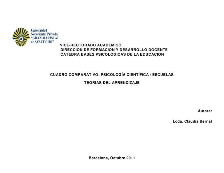 VICE-RECTORADO ACADEMICO    DIRECCION DE FORMACION Y DESARROLLO DOCENTE    CATEDRA BASES PSICOLOGICAS DE LA EDUCACIONCUADR...