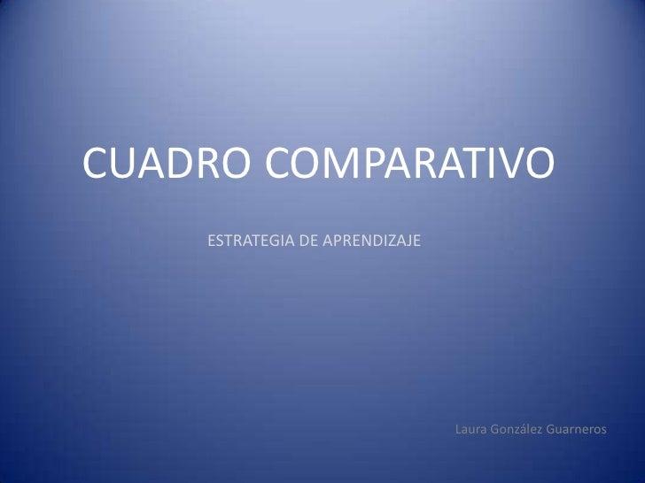 CUADRO COMPARATIVO     ESTRATEGIA DE APRENDIZAJE                                     Laura González Guarneros