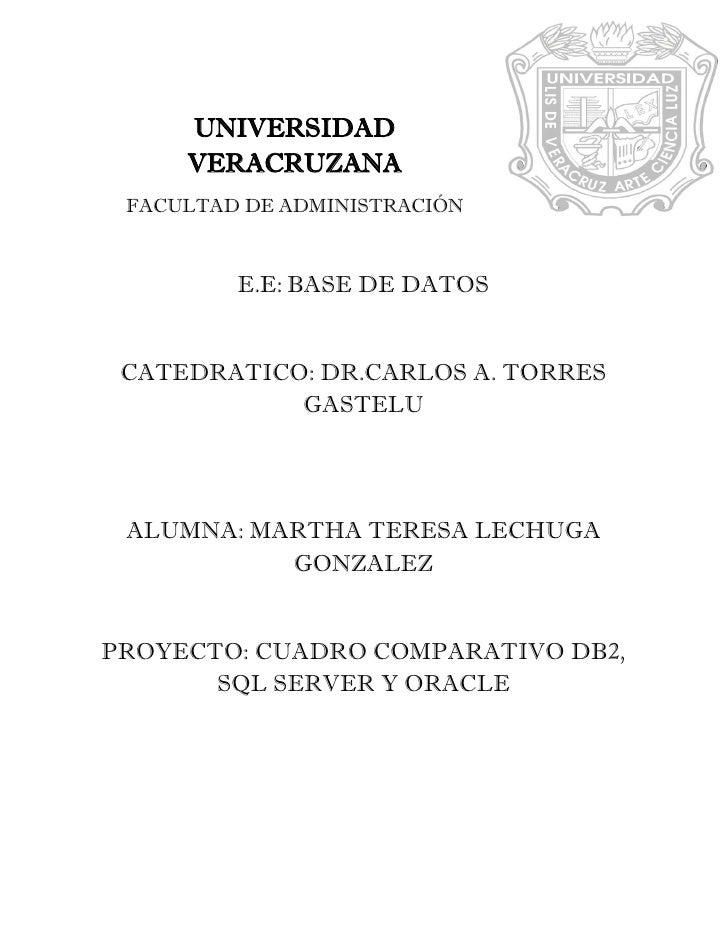 UNIVERSIDAD     VERACRUZANA FACULTAD DE ADMINISTRACIÓN         E.E: BASE DE DATOS CATEDRATICO: DR.CARLOS A. TORRES        ...