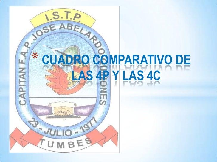 CUADRO COMPARATIVO DE LAS 4P Y LAS 4C<br />