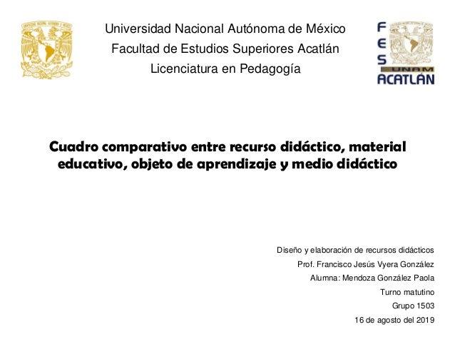 Universidad Nacional Autónoma de México Facultad de Estudios Superiores Acatlán Licenciatura en Pedagogía Cuadro comparati...