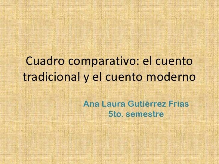 Cuadro comparativo: el cuento tradicional y el cuento moderno<br />Ana Laura Gutiérrez Frías<br />5to. semestre<br />