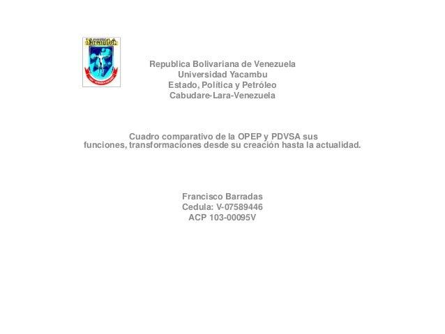 Republica Bolivariana de Venezuela                     Universidad Yacambu                   Estado, Política y Petróleo  ...