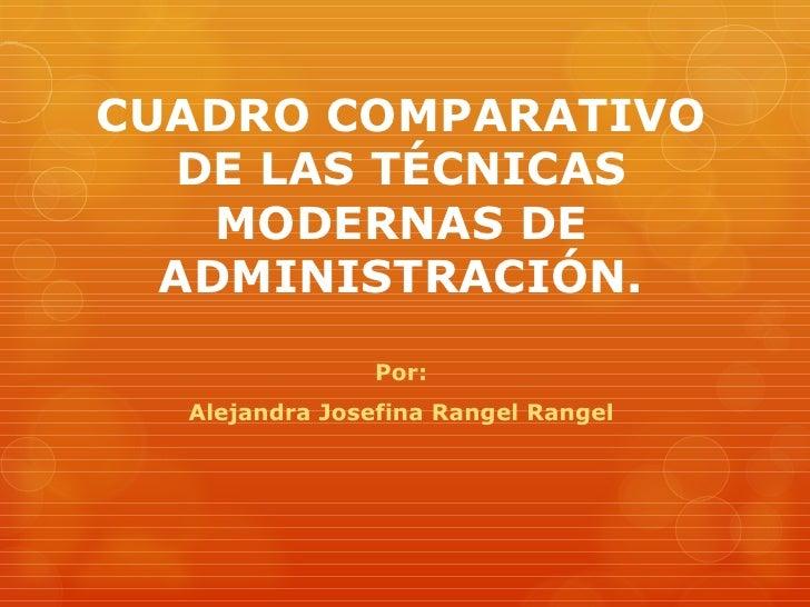 CUADRO COMPARATIVO  DE LAS TÉCNICAS    MODERNAS DE  ADMINISTRACIÓN.                Por:  Alejandra Josefina Rangel Rangel