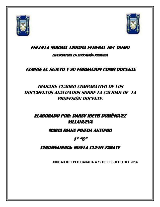 ESCUELA NORMAL URBANA FEDERAL DEL ISTMO LICENCIATURA EN EDUCACIÓN PRIMARIA  CURSO: EL SUJETO Y SU FORMACION COMO DOCENTE T...