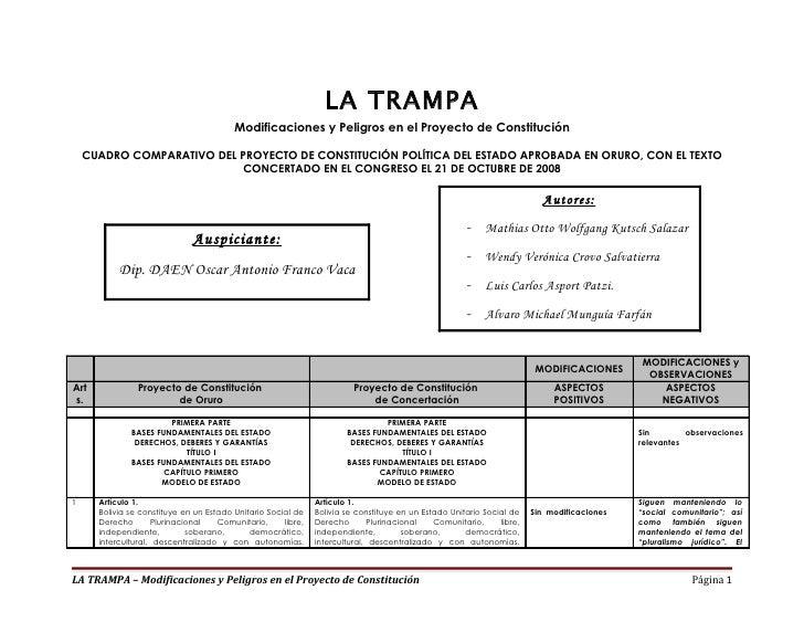 LA TRAMPA                                         Modificaciones y Peligros en el Proyecto de Constitución    CUADRO COMPA...