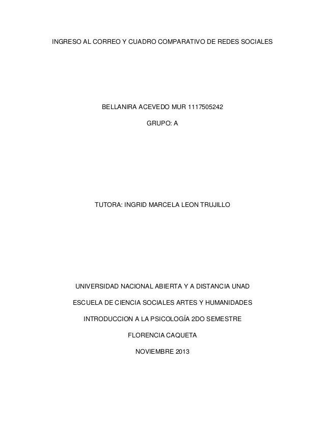 INGRESO AL CORREO Y CUADRO COMPARATIVO DE REDES SOCIALES  BELLANIRA ACEVEDO MUR 1117505242 GRUPO: A  TUTORA: INGRID MARCEL...