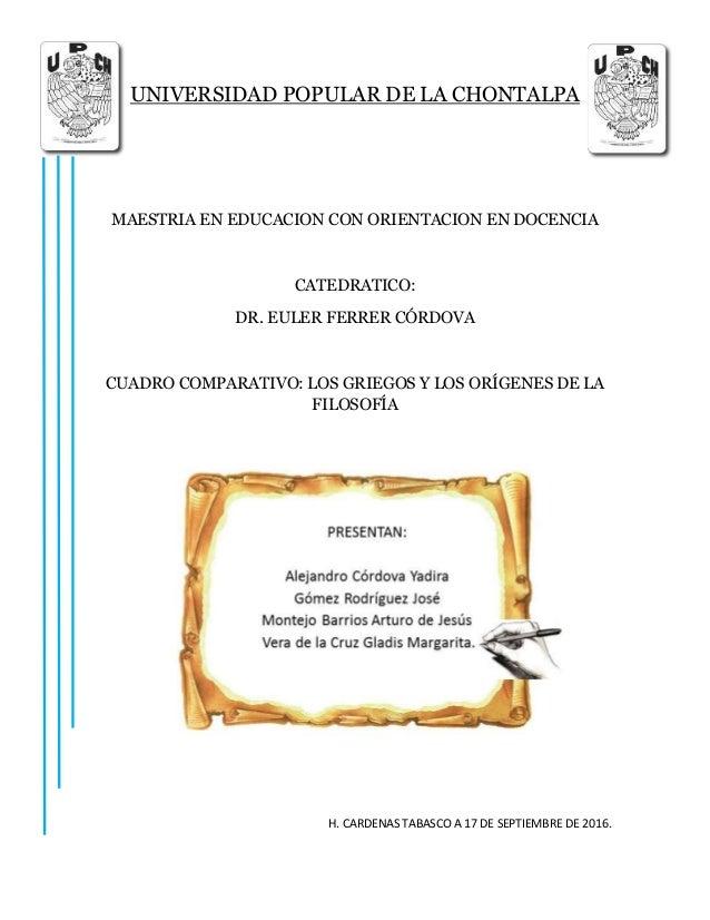 UNIVERSIDAD POPULAR DE LA CHONTALPA MAESTRIA EN EDUCACION CON ORIENTACION EN DOCENCIA CATEDRATICO: DR. EULER FERRER CÓRDOV...