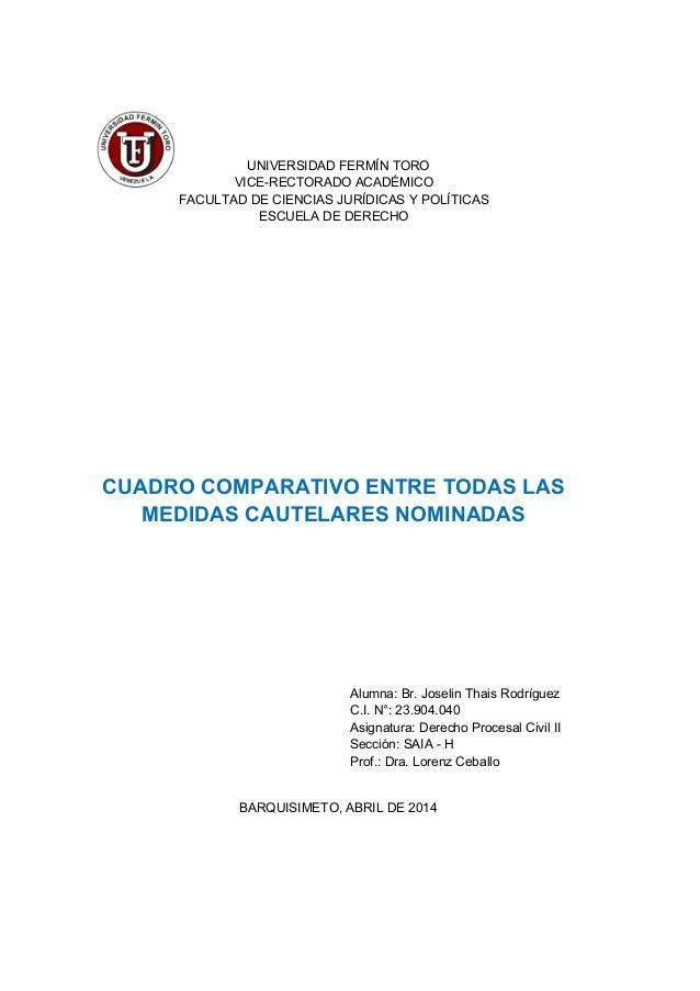 UNIVERSIDAD FERMÍN TORO VICE-RECTORADO ACADÉMICO FACULTAD DE CIENCIAS JURÍDICAS Y POLÍTICAS ESCUELA DE DERECHO CUADRO COMP...