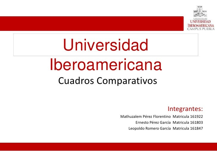 Universidad Iberoamericana  Cuadros Comparativos                                        Integrantes:              Mathuzal...