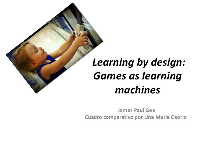 Learning by design:  Games as learning      machines           James Paul GeeCuadro comparativo por Lina María Osorio