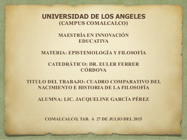 UNIVERSIDAD DE LOS ANGELES (CAMPUS COMALCALCO) ! MAESTRÍA EN INNOVACIÓN EDUCATIVA ! MATERIA: EPISTEMOLOGÍA Y FILOSOFÍA ! C...