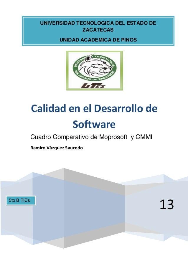 13Calidad en el Desarrollo deSoftwareCuadro Comparativo de Moprosoft y CMMIRamiro Vázquez SaucedoUNIVERSIDAD TECNOLOGICA D...