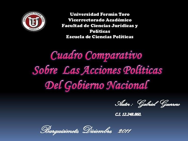 Universidad Fermín Toro   Vicerrectorado AcadémicoFacultad de Ciencias Jurídicas y            Políticas  Escuela de Cienci...