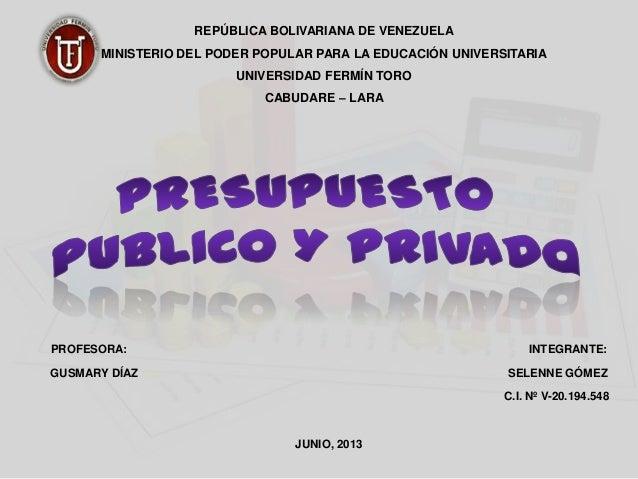 REPÚBLICA BOLIVARIANA DE VENEZUELAMINISTERIO DEL PODER POPULAR PARA LA EDUCACIÓN UNIVERSITARIAUNIVERSIDAD FERMÍN TOROCABUD...