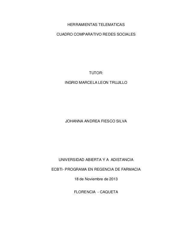 HERRAMIENTAS TELEMATICAS CUADRO COMPARATIVO REDES SOCIALES  TUTOR: INGRID MARCELA LEON TRUJILLO  JOHANNA ANDREA FIESCO SIL...
