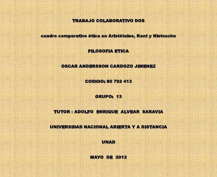 TRABAJO COLABORATIVO DOScuadro comparativo ética en Aristóteles, Kant y Nietzsche                   FILOSOFIA ETICA       ...