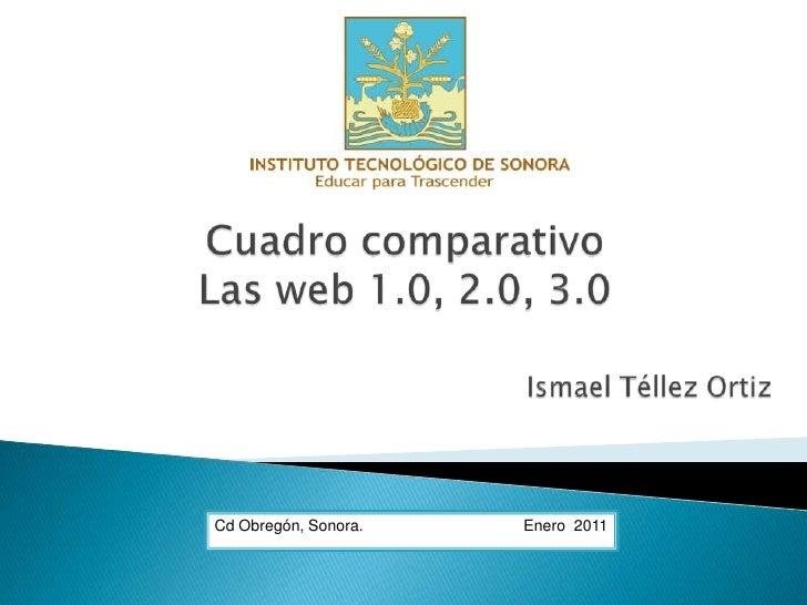 Cuadro comparativo <br />Las web 1.0, 2.0, 3.0<br />Ismael Téllez Ortiz<br />Cd Obregón, Sonora.                          ...