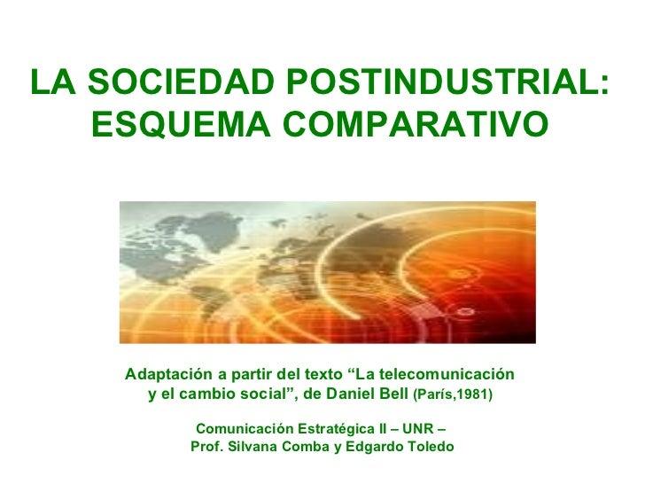 """LA SOCIEDAD POSTINDUSTRIAL: ESQUEMA COMPARATIVO Adaptación a partir del texto """"La telecomunicación  y el cambio social"""", d..."""