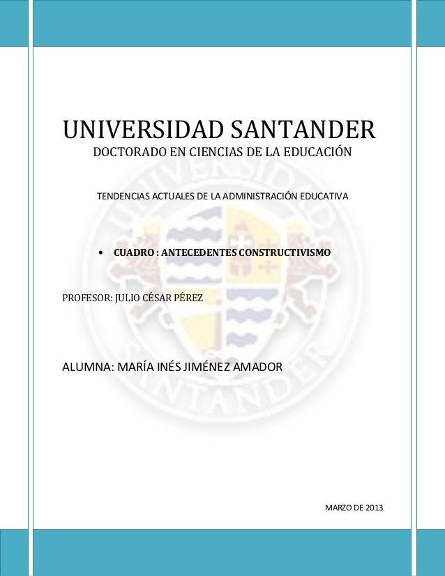 UNIVERSIDAD SANTANDER     DOCTORADO EN CIENCIAS DE LA EDUCACIÓN      TENDENCIAS ACTUALES DE LA ADMINISTRACIÓN EDUCATIVA   ...