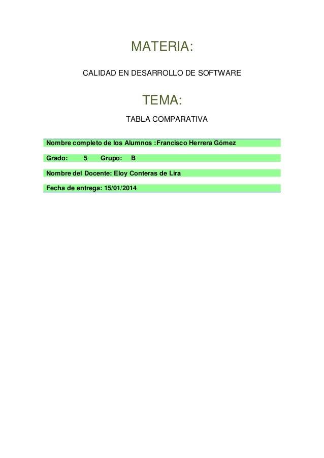 MATERIA: CALIDAD EN DESARROLLO DE SOFTWARE  TEMA: TABLA COMPARATIVA Nombre completo de los Alumnos :Francisco Herrera Góme...
