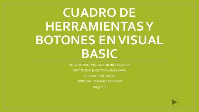 CUADRO DE  HERRAMIENTAS Y  BOTONES EN VISUAL  BASIC  SERVICIO NACIONAL DE APRENDIZAJE SENA  INSTITUCION EDUCATIVA SUAZAPAW...