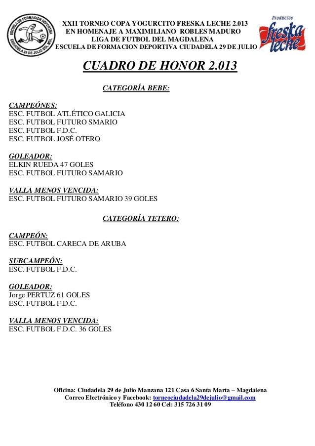 XXII TORNEO COPA YOGURCITO FRESKA LECHE 2.013 EN HOMENAJE A MAXIMILIANO ROBLES MADURO LIGA DE FUTBOL DEL MAGDALENA ESCUELA...