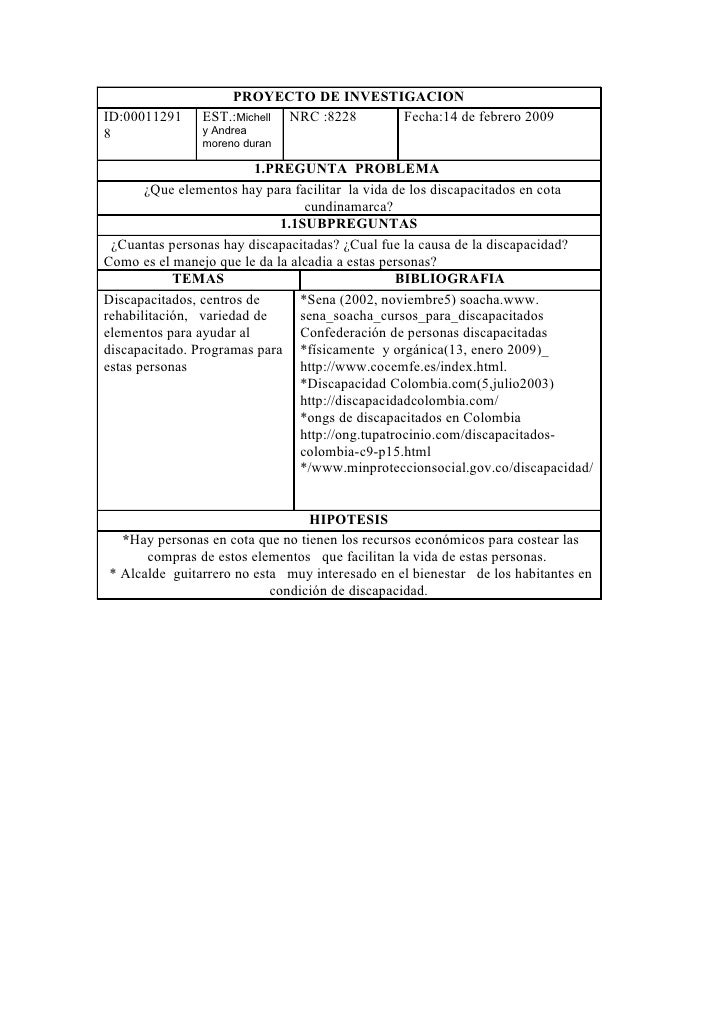 PROYECTO DE INVESTIGACION ID:00011291    EST.:Michell NRC :8228 Fecha:14 de febrero 2009 8              y Andrea          ...